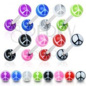 Piercing do języka - kolorowe kuleczki, symbol pokoju obraz