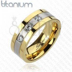 Tytanowy pierścionek - złoto srebrny, trzy cyrkonie obraz