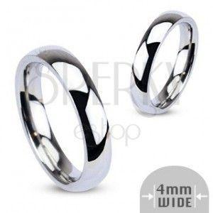 Stalowa obrączka - srebrna, gładka, 4 mm obraz