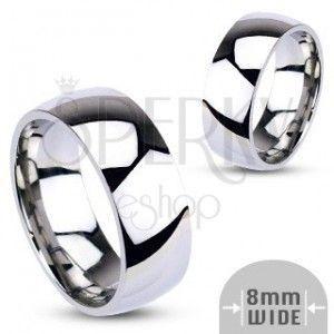 Stalowa obrączka - srebrna, gładka, lśniąca, 8 mm obraz