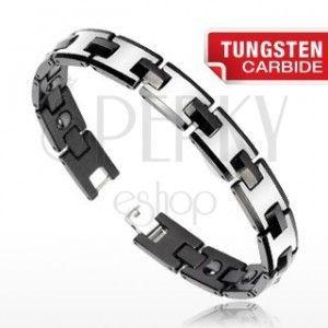 Tungsten magnetyczna bransoletka - srebrny i czarny kolor, błyszczące ogniwa obraz