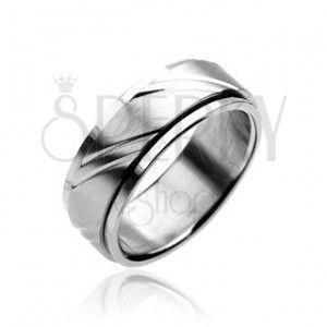 Pierścień ze stali chirurgicznej - dwuczęściowy, srebrny, z wygrawerowanym wzorem obraz