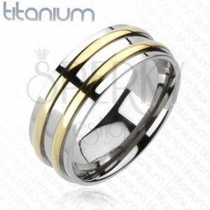 Tytanowa obrączka - srebrna, dwa złote pasy obraz