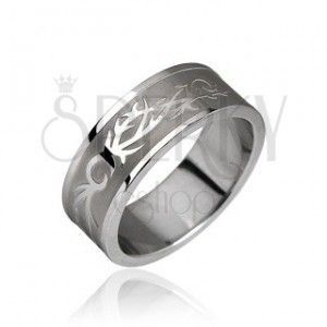 Stalowy pierścionek - motyw tribal obraz