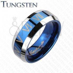 Tungsten pierścionek - niebiesko-srebrna obrączka, cyfry rzymskie obraz