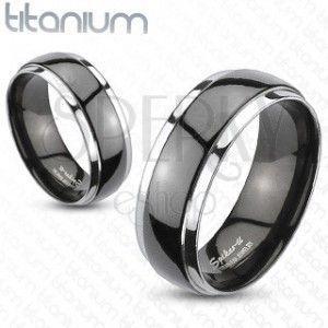 Obrączka z tytanu - czarno srebrna obraz