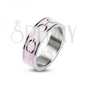 Stalowy pierścionek - różowy środek, kółka obraz