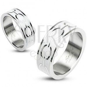 Stalowy pierścionek - biały środek z elipsami obraz