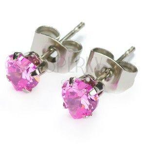 Kolczyki ze stali - różowe serduszko obraz
