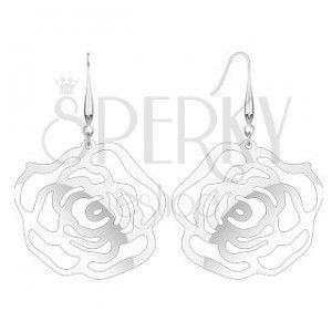 Stalowe kolczyki - ażurowa róża na biglu obraz