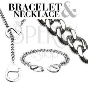 Zestaw łańcuszków - naszyjnik i bransoletka z kajdankami obraz