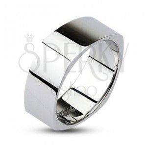 Kanciasta stalowa obrączka - lśniąca srebrna powierzchnia obraz