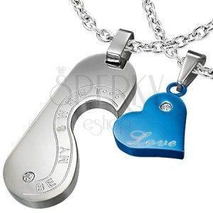 Zawieszki dla dwojga - serce, medalik, miłosne napisy, srebrna i niebieska obraz