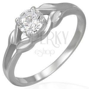 Stalowy pierścionek - przezroczysta cyrkonia w pętelce obraz