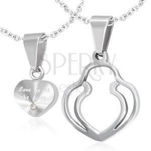 Zawieszki dla dwojga - srebrne serce, podwójny obrys serca, cyrkonia obraz