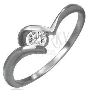 Stalowy zaręczynowy pierścionek - cienkie zakrzywione ramiona, okrągła bezbarwna cyrkonia obraz
