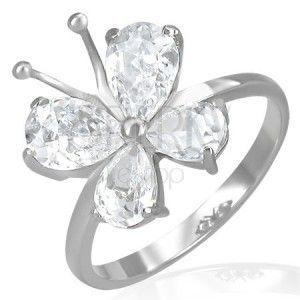 Stalowy pierścionek - cyrkoniowy motylek z czułkami obraz