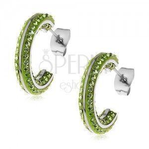 Okrągłe stalowe kolczyki - małe zielone cyrkonie, lśniące pasy srebrnego koloru obraz