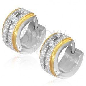 Okrągłe piaskowane kolczyki ze stali z cyrkonią, złote krawędzie obraz