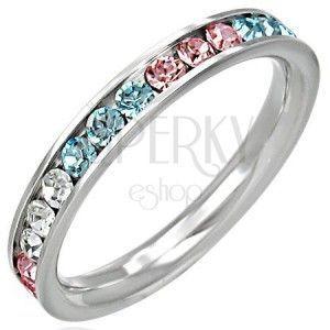 Stalowy pierścionek - cyrkonie w trzech kolorach obraz