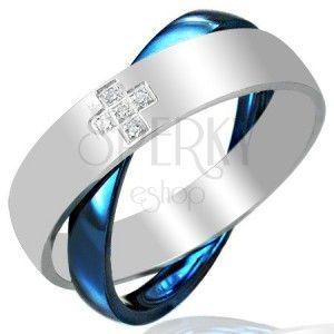 Stalowy podwójny pierścionek, niebiesko - srebrny obraz