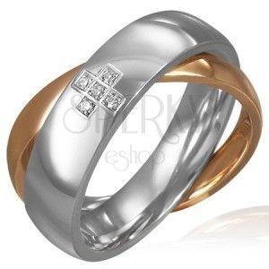Podwójny stalowy pierścionek - cyrkoniowy krzyż, złoty i srebrny obraz