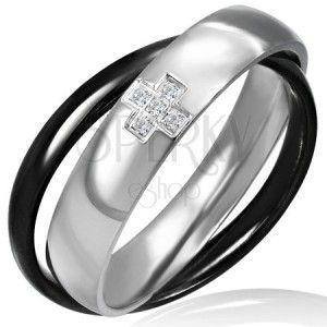 Podwójny pierścionek ze stali - czarny i srebrny, krzyżyk obraz