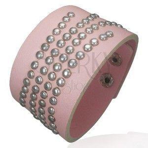 Wybijana różowa bransoletka ze sztucznej skóry obraz
