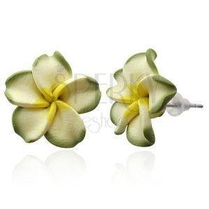 Zielony kwiat Plumeria - fimo kolczyki obraz