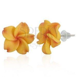 Kolczyki wkręty FIMO - żółto-czerwony kwiat Plumerii obraz