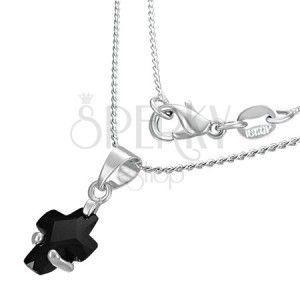 Naszyjnik - czarny cyrkoniowy krzyżyk obraz