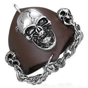 Skórzana bransoletka z wampirem - łańcuch z czaszkami obraz