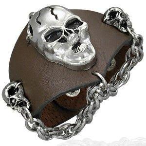 Skórzana bransoletka - wściekłe czaszki, łańcuszek, brązowa obraz