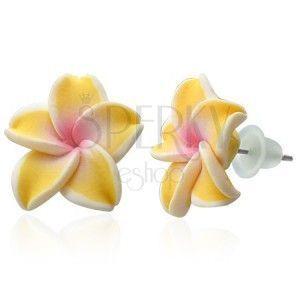 Fimo kolczyki - żółta Plumeria obraz