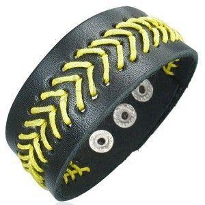 Czarna skórzana bransoletka - żółta wyszywana choinka obraz