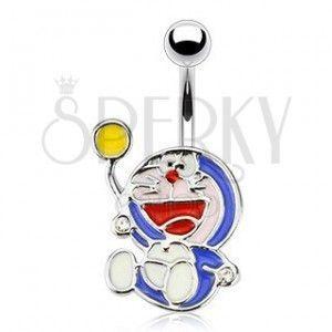Emaliowany piercing do brzucha - niebieski kot obraz