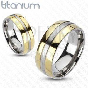 Tytanowy pierścionek - złota i srebrna kombinacja obraz