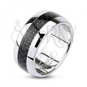 Pierścień ze stali chirurgicznej ze wzorem w kratkę obraz