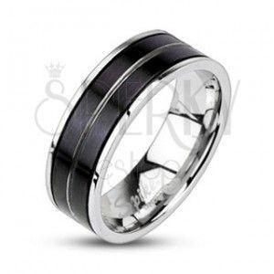 Pierścień ze stali chirurgicznej - czarny kolor, wygrawerowana linia obraz