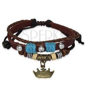 Skórzana bransoletka z drewnianymi koralikami, korona królewska obraz