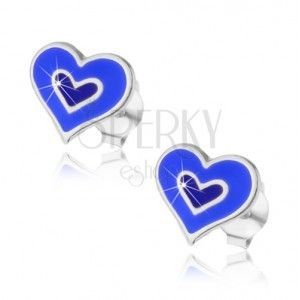 Srebrne kolczyki 925 - podwójne serce w niebieskim lub różowym kolorze obraz
