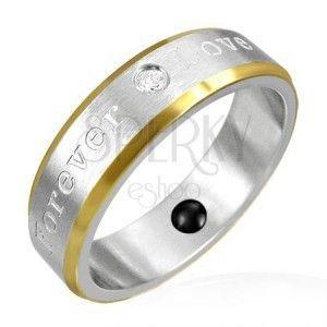 Pierścionek magnetyczny ze stali - złote krawędzie, romantyczny napis obraz