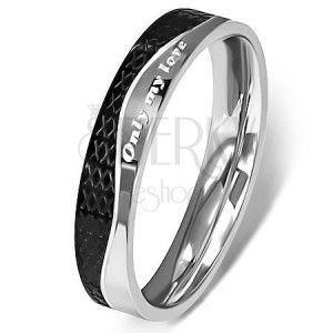 Stalowy pierścionek - srebrno-czarny, fala obraz