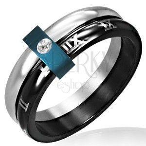 Stalowy pierścionek - podwójny z cyframi rzymskimi obraz