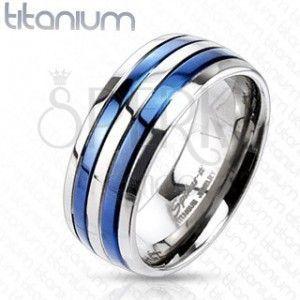 Pierścionek z tytanu z dwoma niebieskimi paskami obraz