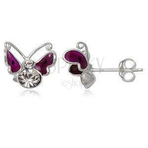 Srebrne kolczyki 925 - latający motylek, fioletowy z kropką obraz