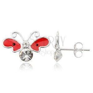 Kolczyki srebrne 925 - motyl, czerwone skrzydła z czarnymi kropkami obraz