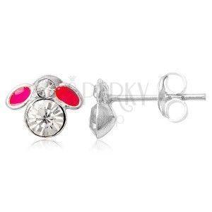 Kolczyki ze srebra 925 sztyfty - mała różowa muszka obraz