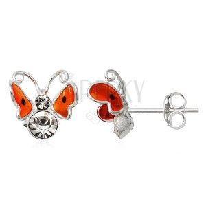 Kolczyki srebrne 925 - 3D pomarańczowy motyl, czarne kropki obraz