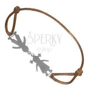 Srebrna bransoletka 925 - brązowy sznurek z chłopcem i dziewczynką obraz